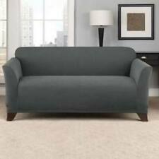 Sure Fit Stretch Chevron 1 piece Loveseat Slipcover Box Cushion in Gray