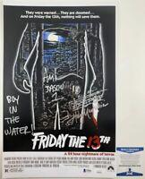 Ari Lehman & Harry Manfredini Dual Signed Friday The 13th 11x17 Poster BAS COA
