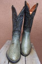 Mens Cowboy Boots Western Riding Light Olive Full Quill Ostrich Leather Size 9D
