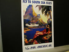 Pan Am Ailines Travel Poster South Sea Isles From American Express Travel Office