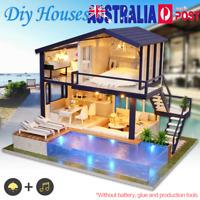 AU! DIY LED Loft Apartments Dollhouse Miniature Wooden Furniture Kit Doll House