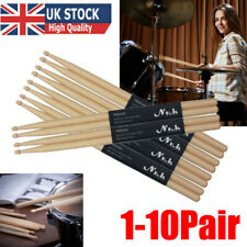 More details for 1-10 pairs drum sticks 5a drumsticks maple high quality wood feel johnny brook