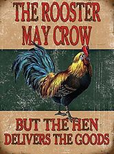 30x40cm Rooster May Crow Chicken Funny Large Metal Advertising Wall Sign