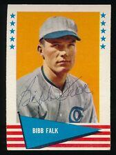 1961 Fleer Autographed -#104 Bibb Falk (Chicago White Sox, Indians) (d.1989)