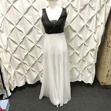 Alice + Olivia Luna Lamb Leather Bodice Lace Black White Pleated Maxi Dress 2