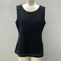 NWT Calvin Klein Stretch Knit Cami Tank Top Women's L Black Sleeveless Casual