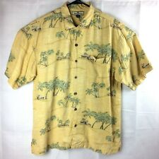 Tommy Bahama Yellow Green Palm Trees Short Sleeve Hawaiian 100% Silk Shirt Large
