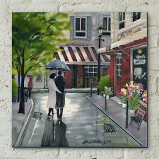 "Romantic Stroll Paris Ceramic Picture Tile Brent Heighton 12x12"" Wall Art 05407"