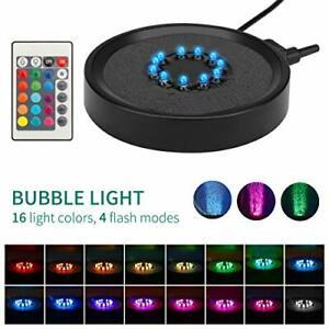 Aquarium Light LED Fish Tank  Light Remote Aquariums Air Stone Disk Lamp