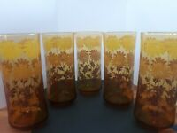 Vintage Libbey Amber Smokey 1970s Tall Drinking Glasses, Set of 5, Retro Daisies