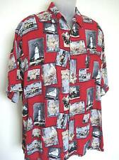 Puritan Hawaiian Shirt Mens size XL Red Vintage Island Icon Cars Coconut Buttons