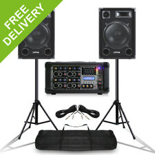 """MAX 12"""" Mobile DJ Speakers  PA Amplifier Mixer Stands Band Disco Kit 1400W"""