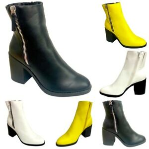EX SCHUH Womens Ankle Boots Block Mid Heel Ladies Casual Shoes Size 3 4 5 6 7 8