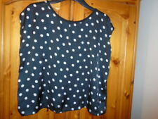 Black and white spot satin front sleeveless boxy top, ATMOSPHERE, size 14