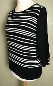 Next Black White Stripe 3/4 Sleeve Casual Jumper Size 16