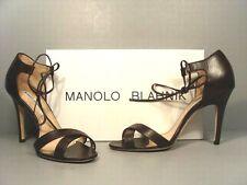Manolo Blahnik 38/7.5 Backla Brown Leather Ankle Tie Sandals Pumps High Heels