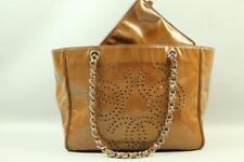 Auth CHANEL Triple CC Logo Amber Patent Leather Tote Handbag Chain Shoulder  Bag