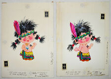 NORCROSS Greeting BIRTHDAY CARD Set of 2 ORIGINAL ART Painting INDIAN BOY Vtg