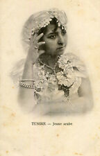 Carte TUNISIE Jeune Arabe Jeune fille avec bijoux