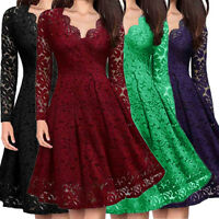 Women's V-Neck Off Shoulder Lace Formal Evening Party Dress Long Sleeve Dress