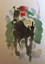 """RICHARD AHR:1929-2012 NEW YORK CITY """"Home Stretch"""" Horse Watercolor Painting1998"""