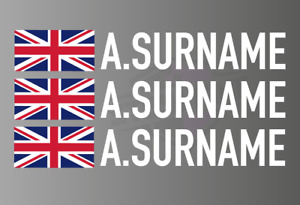 3 X Driver Name Stickers - Race Car Motorsport Track day UNION JACK Flag Graphic
