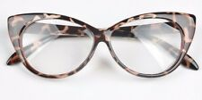 Womens Leopard Hot Fashion Clear Lense Nerd Geek Glasses Retro Cat Eye Style