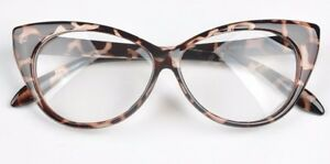 Leopard VTG 50s/60s Style Clear Lens Cat Eye Office Retro Rockabilly Glasses
