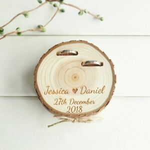 Ring Box Wood Natural Slice Customized Wedding Gift Bearer Personalized Holder