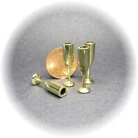 Dolls house miniatures, set 4 gold goblets.