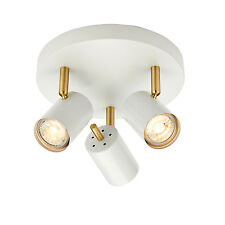 Endon Gull ceiling spotlight round 3x 3.5W Matt white paint & satin brushed gold