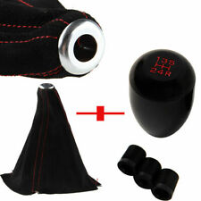Aluminum Manual Car 5 Speed Gear Shift Knob Shifter Head Boot Dust Cover Black