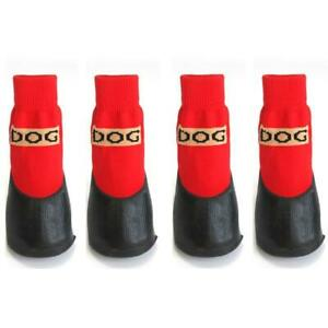 4pcs/set Soft Cotton Pet Dog Warm Shoes Xs/xl Rubber Waterproof Non-slip Socks