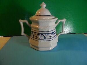 KR 81 USA Blue and White Ceramic Sugar Bowl