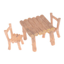 3Pcs/Set Wooden Table Chairs Dollhouse Miniatures Doll Accessories @