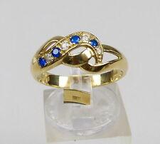 Ring aus 585er Gold mit Saphire und Zirkonia, Gr. 59/Ø 18,8 mm  (da4739)
