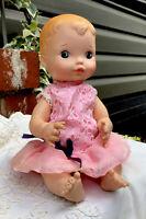 "Vintage 1975- VOGUE Baby Doll- 10"" Vinyl & Hard Plastic- Pink Lace Dress/Pantie"
