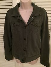 FOX ladies short knit pile lined gray jacket size Medium button down NWOT