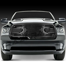 13-17 Dodge RAM 1500 Big Horn Gloss Black Packaged Grille+Replacement Shell