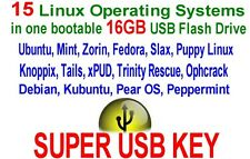 16GB Linux Multiboot USB Flash Drive, bootable Ubuntu, Mint, Zorin, 15 systems!