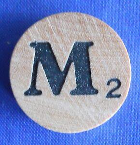 WordSearch Letter M Tile Replacement Wooden Round Game Piece Part 1988 Pressman
