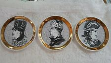 Rare Fornasetti double face set of 3 coasters trimmed with gold