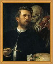 Self-Portrait with Death Playing the Fiddle Arnold Böcklin Tod Geige B A2 00673