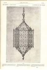 1882 Wrought Iron Lantern Picturesque Design Italian 14th Century