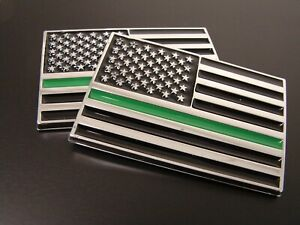 (2) THIN GREEN LINE AMERICAN FLAG 3D EMBLEM STICKER LOGO FEDERAL AGENTS MILITARY