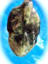 VINTAGE MINED INCREDIBLE OLD JADE FACE 14K YELLOW GOLD PENDANT