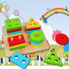 Wooden Geometric Sorting Board Montessori Kids Educational Toys Building Blocks