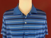 Croft & Barrow Performance Blue Striped Short Sleeve Golf Polo Shirt Men's XL