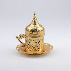 Turkish Coffee Serving Cups with Holders Lids and Saucers set