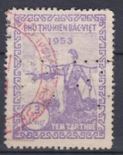 VIETNAM 1953 PERFIN 3 DONG FISCAL REVENUE STAMP